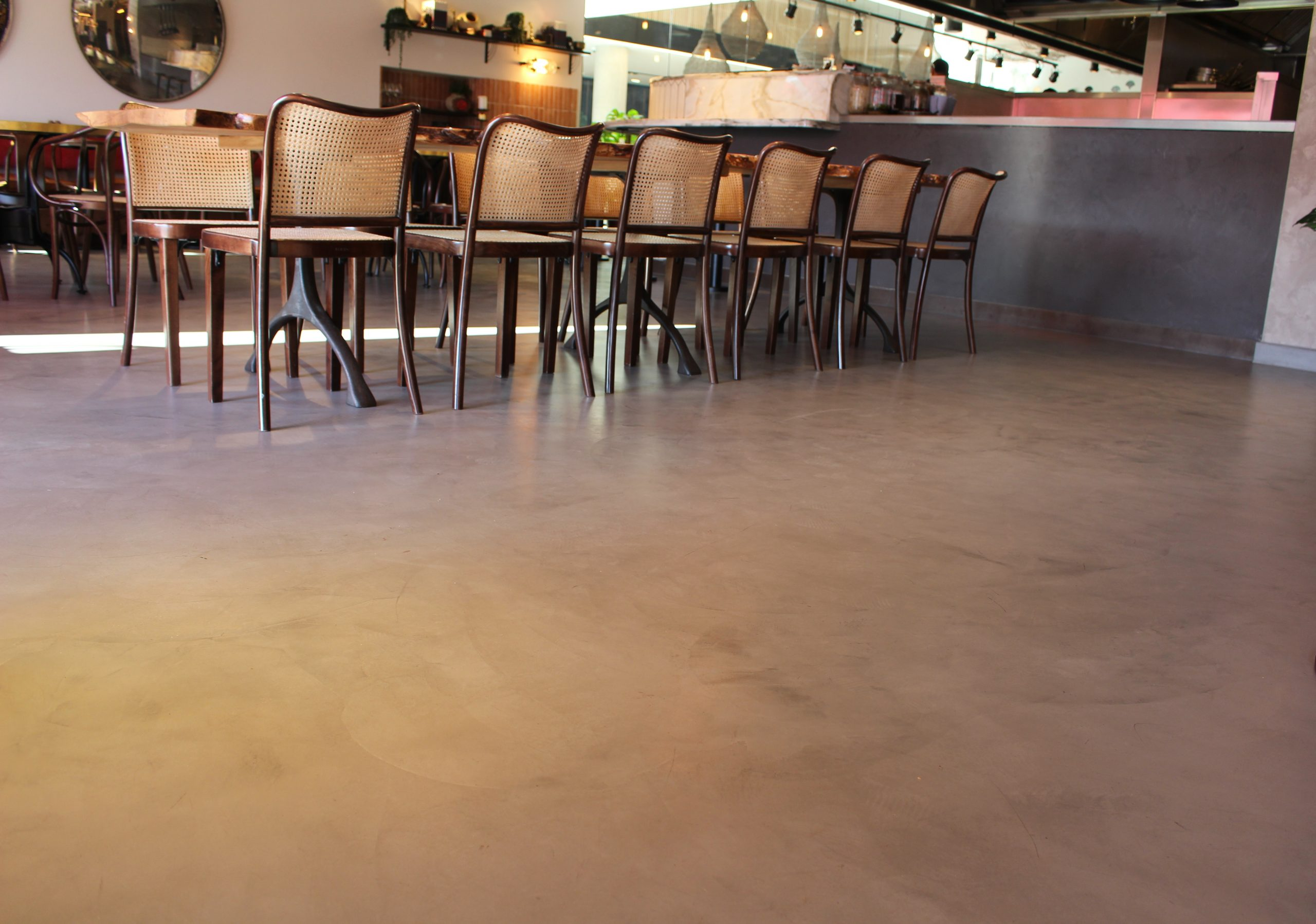 microcement in a restaurant uk