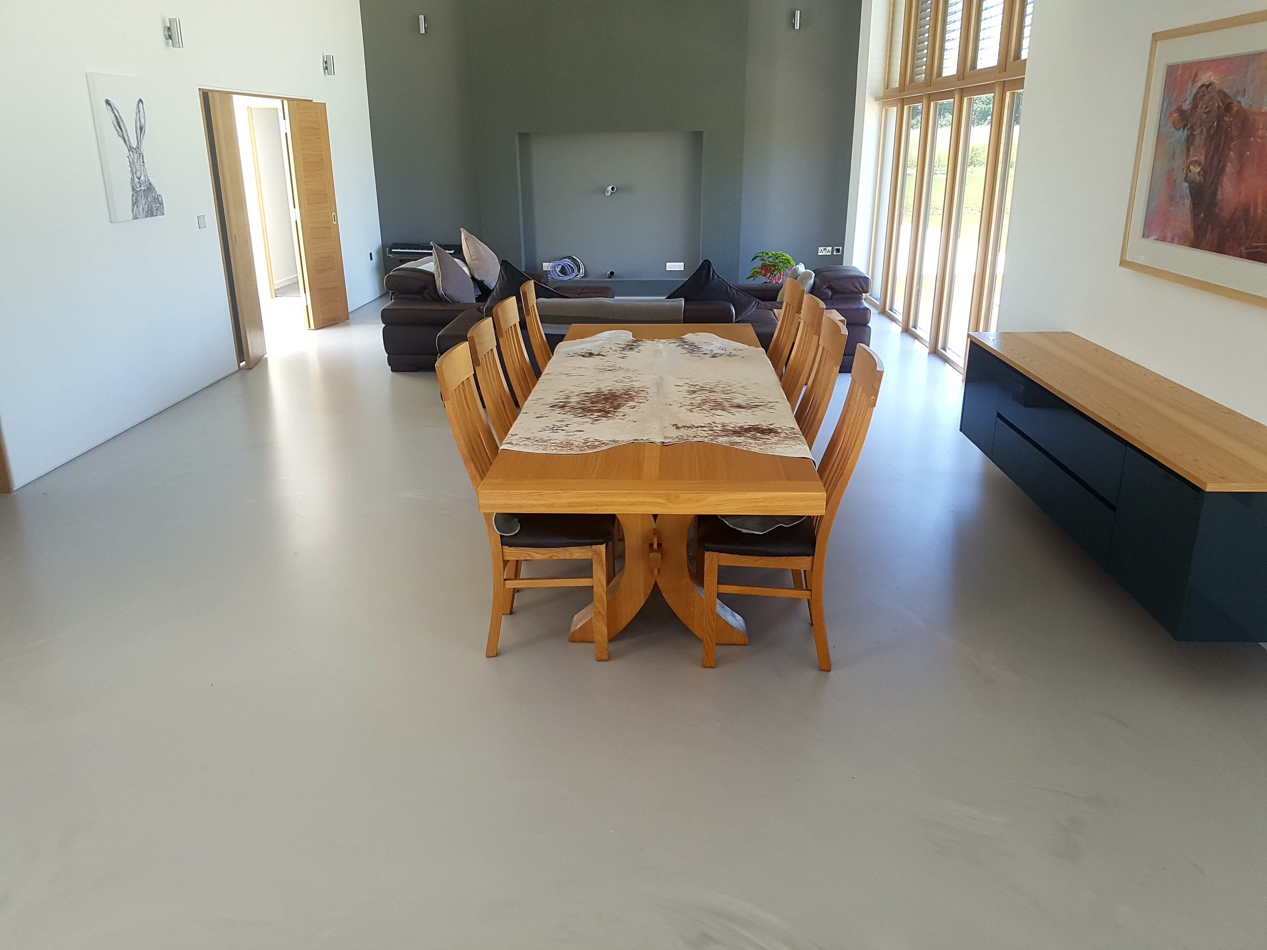 poured resin in a living room